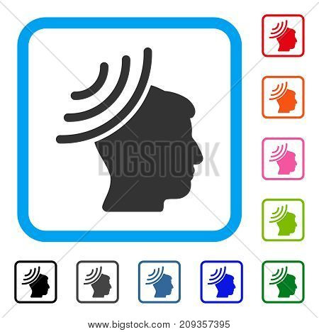Radio Reception Mind icon. Flat gray iconic symbol inside a light blue rounded rectangle. Black, gray, green, blue, red, orange color additional versions of Radio Reception Mind vector.