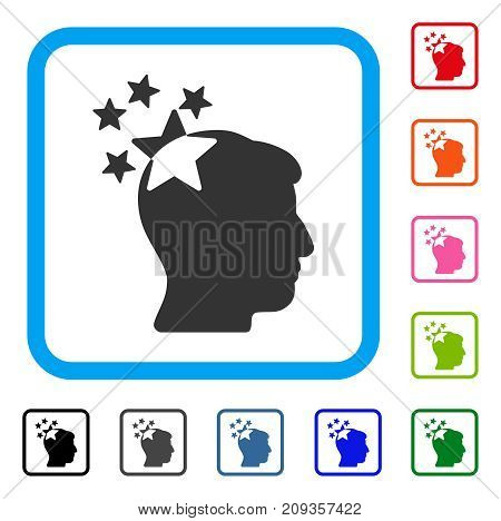 Stars Hit Head icon. Flat gray iconic symbol inside a light blue rounded rectangle. Black, gray, green, blue, red, orange color versions of Stars Hit Head vector.