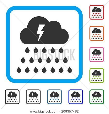 Thunderstorm Rain Cloud icon. Flat grey pictogram symbol inside a light blue rounded rectangular frame. Black, gray, green, blue, red, orange color versions of Thunderstorm Rain Cloud vector.