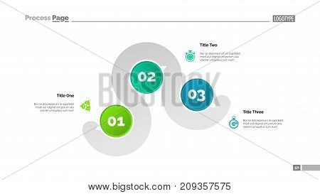 Three points process chart slide template. Business data. Point, diagram, design. Creative concept for infographic, presentation, report. Can be used for topics like management, finance, banking.