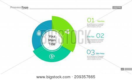 Three sectors process chart slide template. Business data. Option, circle, design. Creative concept for infographic, presentation, report. Can be used for topics like marketing, banking, analytics.