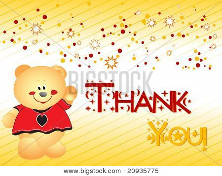 abstract yellow dotted, star thank you background with taddy