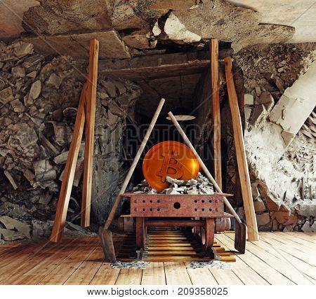 Bitcoin mining in the living room interior. 3d rendering illustration concept