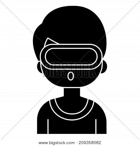 virtual reality - man with 3d glasses icon, illustration, vector sign on isolated background