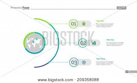 Three steps process chart slide template. Business data. Option, diagram, design. Creative concept for infographic, presentation, report. Can be used for topics like management, planning, teamwork.