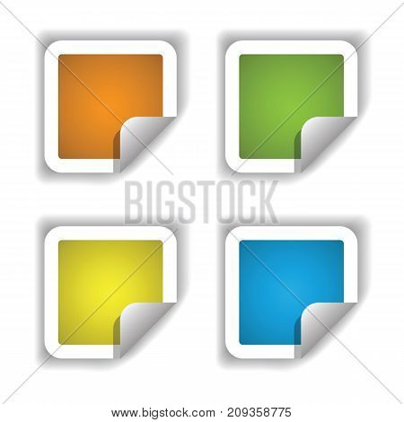 colorful illustration with stikers isolated on white background