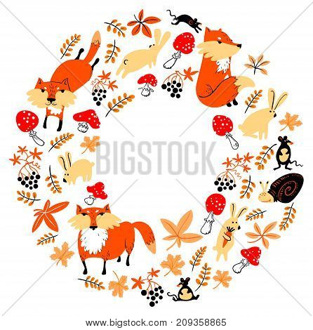 Autumn wreath with animals and plants in children's style. Illustration with fox rabbit mouse grape leaves. Cute vector fall season frame