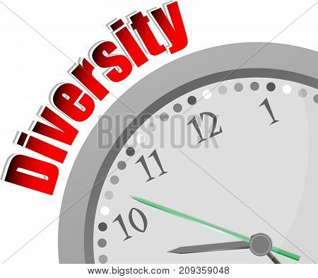 Text Diversity. Business Concept . Color Word And Modern Clock On White