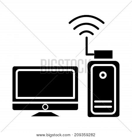 wi-fi adapter - wi-fi network - monitor with usb card icon, illustration, vector sign on isolated background