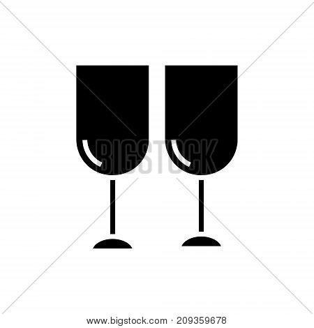wine glasses icon, illustration, vector sign on isolated background