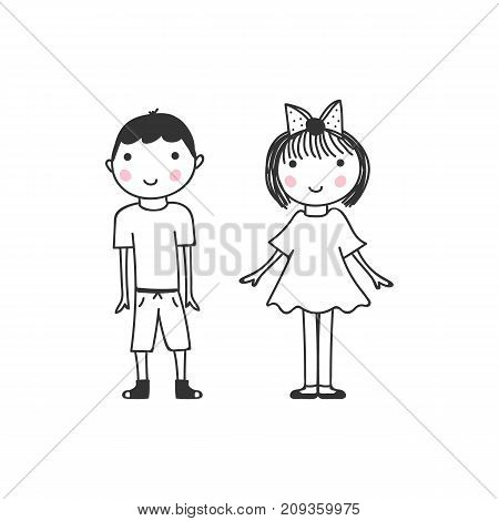 Boy and girl, vector doodle sketch isolated on white background.