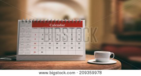 Calendar And A Cup Of Coffee On A Wooden Table. 3D Illustration