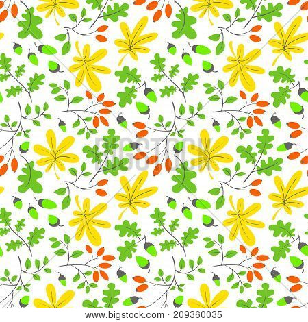 Fall season floral seamless pattern. Autumn background with bright leaves acorns and dogrose. Vector seasonal illustration
