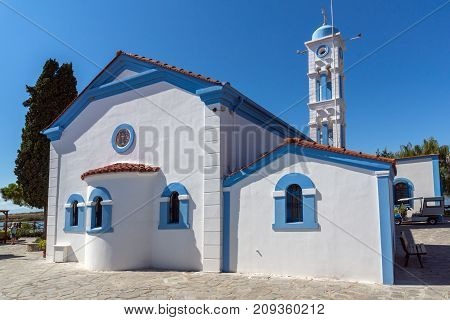 Orthodox Saint Nicholas Monastery located on two islands in Porto Lagos near town of Xanthi, East Macedonia and Thrace, Greece