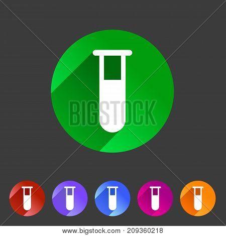 Test tube glass icon flat web sign symbol logo label set