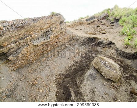geological detail at a volcano named Mount Batur in Bali Indonesia