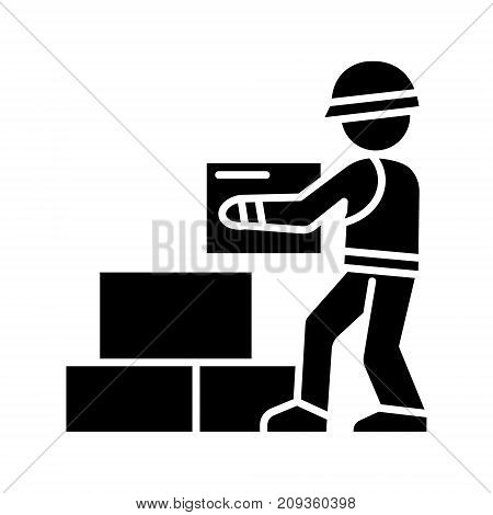 worker builder taking bricks icon, illustration, vector sign on isolated background