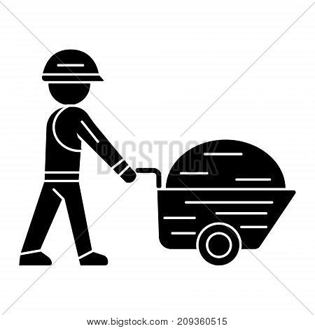 worker builder with wheelbarrow icon, illustration, vector sign on isolated background