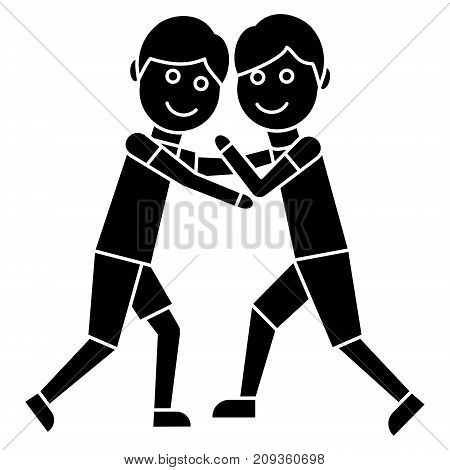 wrestling - fight icon, illustration, vector sign on isolated background