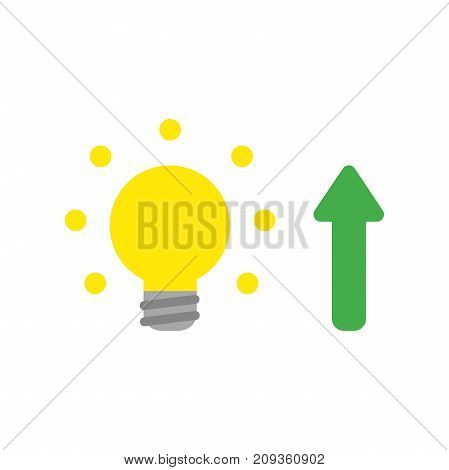 Flat Design Style Vector Concept Of Light Bulb With Arrow Up