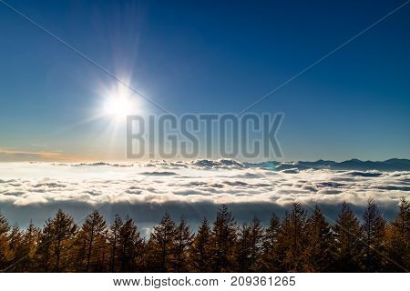 The sun above a see of clouds.