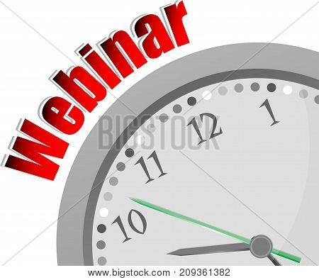 Text Webinar. Web Design Concept . Color Word And Modern Clock On White