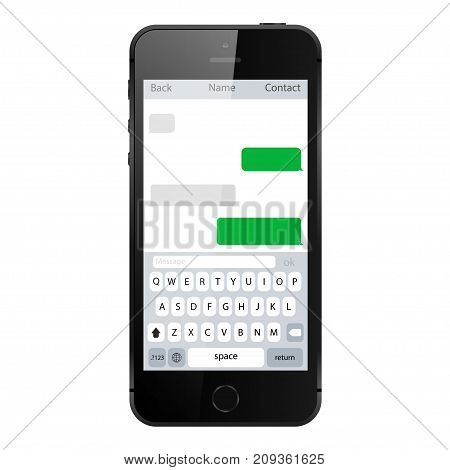 Smartphone chatting sms template bubbles. Mobile phone isolated on white background