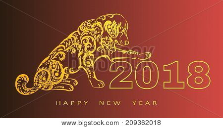 2018 Happy New Year greeting card.year of the dog. Chinese New Year. with hand drawn doodles.for banners, posters, flyers.Vector illustration