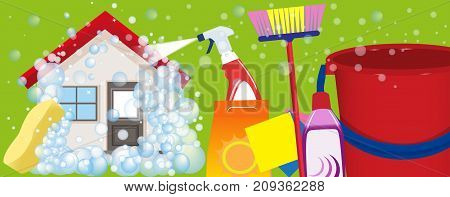 Services cleaning banner. A clean house and office. Vector illustration.