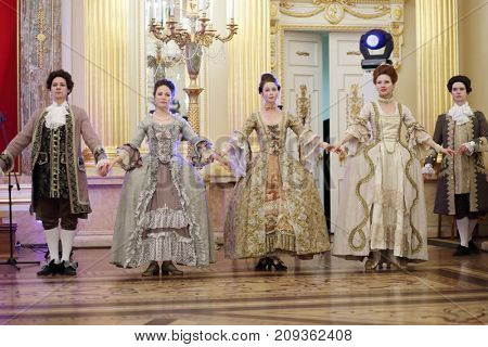 MOSCOW - SEP 16, 2017: Great Catherine Ball (dance party) in Tsaritsyno