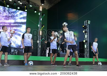 MOSCOW - SEP 16, 2017: Freestyle Sport team perfrom during festival Russia loves football in Grand Sports Arena