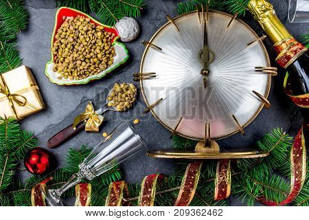 New Years Eve Ritual. Tradition To Eat Spoon Of Lentil At Midnigth. Holidey Composition With Vintage