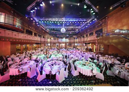 MOSCOW - JUN 8, 2017: Hall with illumination at Award Records of real estate market 2017 in Golden Palace