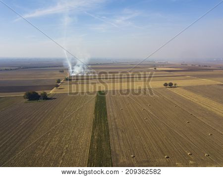 Agricultural fields after harvesting crops