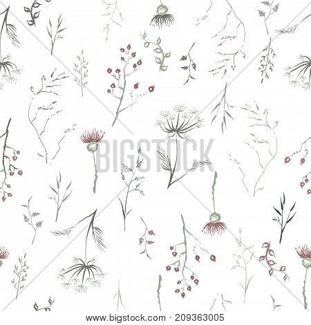 Seamless patterm based on color hand painted ink leaves, flowers and herbs with rosehip, thistle and dill. Great for seasonal greeting cards. Artwork for your design.
