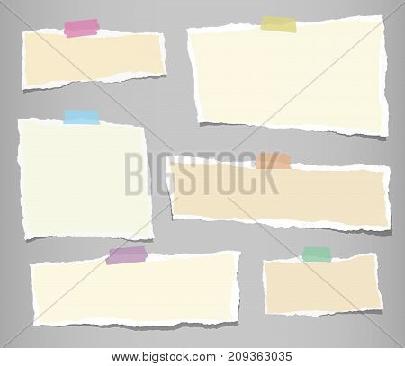 Beige ripped strips, notebook, note paper for text or message stuck with sticky tape on gray background