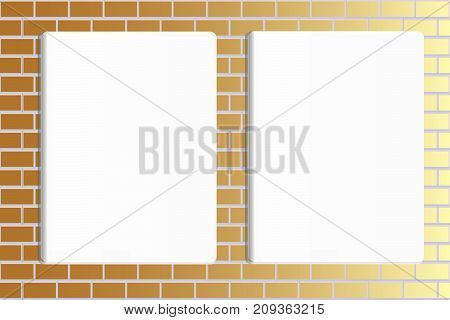 Two blank posters hanging on brick light wall of broken painted brick mock up