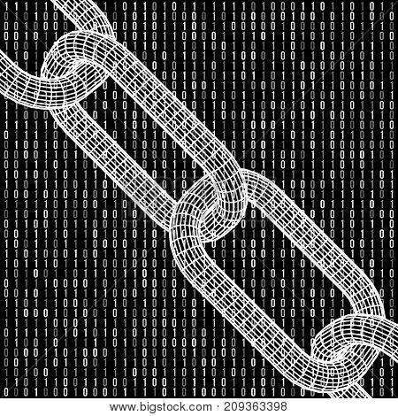 Blockchain. Cripto currency bitcoin. Global internet worldwide. Abstract Matrix Background. Binary Computer Code. Vector Tech Background.