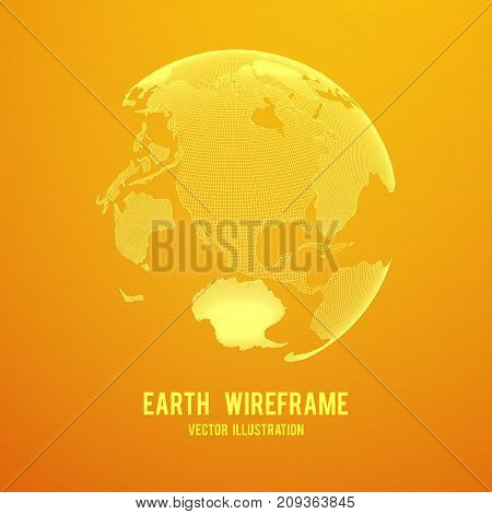 Wireframe planet Earth globe. Design poly mesh vector illustration