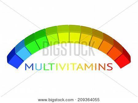 Multivitamin label inspiration, icon concept vitamins , vector isolated