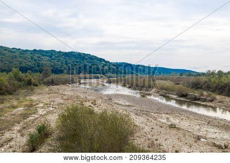 The river Slanic flowing near the town of Prahova in Romania.