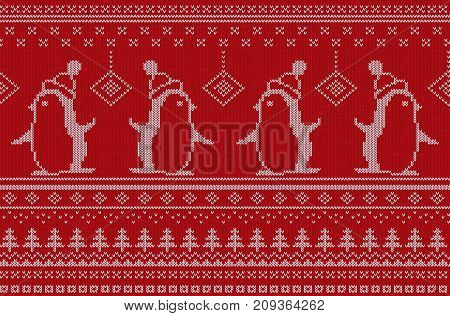 Vector illustration of red and white colored knitted pattern with penguins.