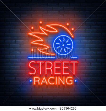 Street racing logo emblem template vector logo in neon style. A glowing sign on the theme of the races. Neon sign, light banner.