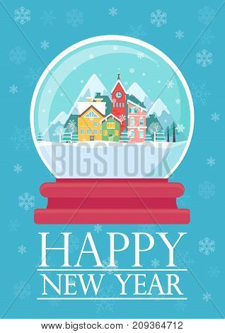 Vector illustration of glass ball with snowy town and Happy New Year words.