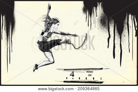 Athletics- LONG JUMP.From the series SILENT HEROES- Athletes with physical disabilities.Hand drawn vector.-