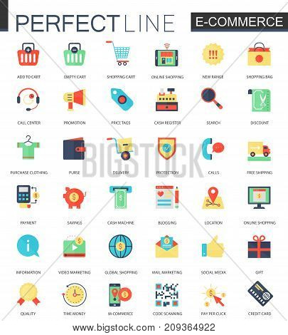 Vector set of flat E-commerce technology icons.