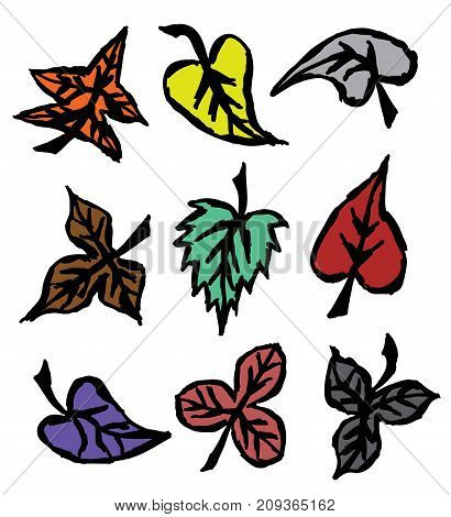 Grunge autumn leaves. Hand drawn. Isolated white background. EPS file available.