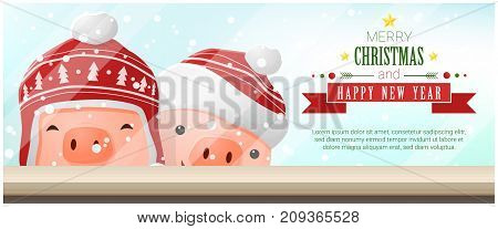 Merry Christmas and Happy New Year background with pigs standing behind window , vector , illustration