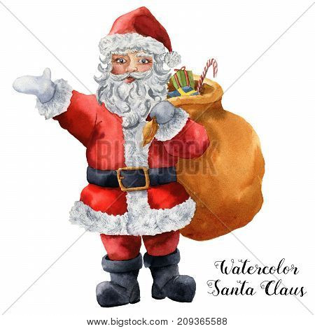 Watercolor Santa Claus. Hand painted Christmas character with gift bag isolated on white background. Holiday print for design, fabric or background.
