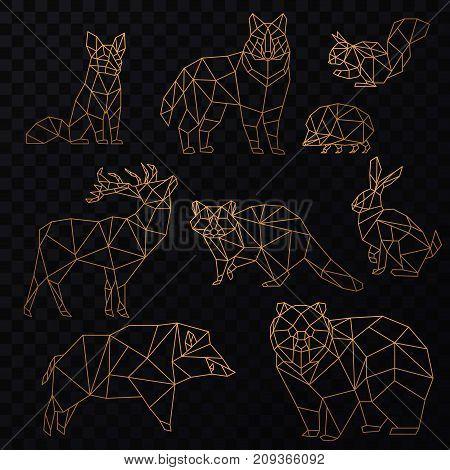 Low poly cgolden line animals set. Origami poligonal gold line animals. Wolf bear, deer, wild boar, fox, raccoon, rabbit and hedgehog.